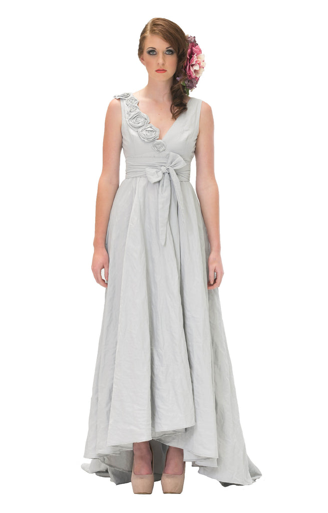 Misty Blue wrap dress with roses for brides or bridesmaids
