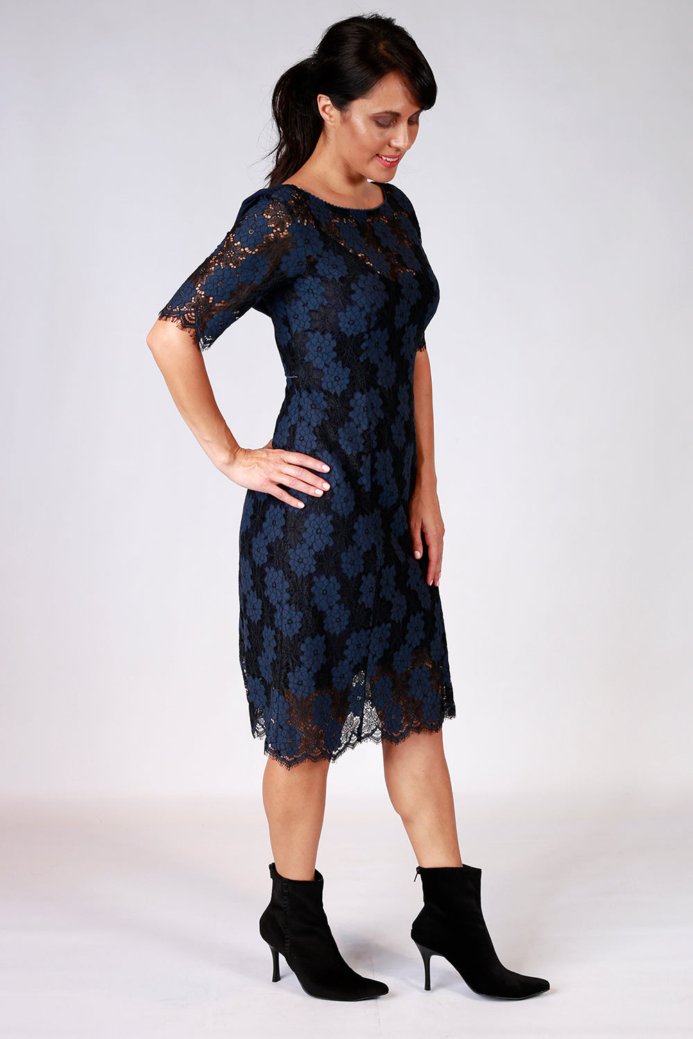 Aleena Lulu Lace Dress | Annah Stretton AW20 | Knee Length Lace Dress | Shot on Model | Navy Lace Dress | Navy Dress | Lace Dress | Cowl Back | Occasion Dress | Event wear | NZ Designer Dress