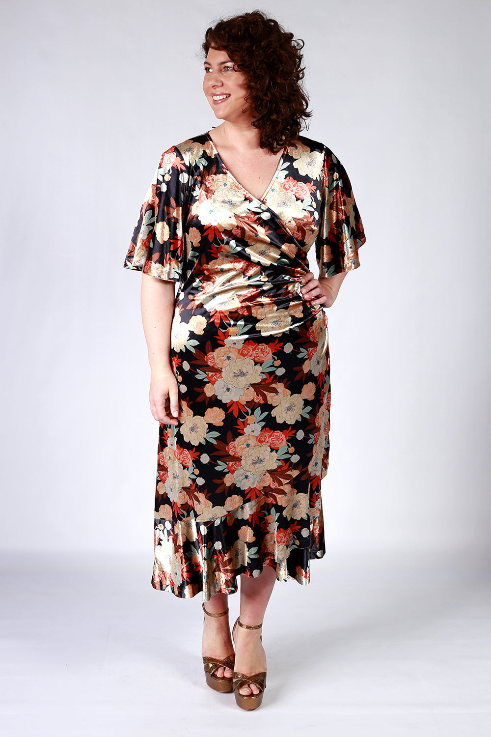 Violet's My Name Dress | Gypsy Fare Collection | Annah Stretton AW20 | Annah Stretton Dress | Velvet Dress | Midi Length Dresses NZ | Designer Fashion NZ | Floral Dresses NZ | Velvet Dress NZ |