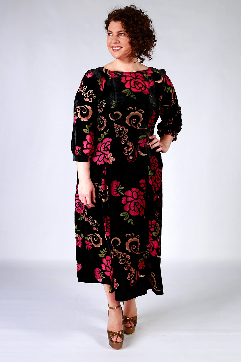 Coming Up Roses Dress | Gypsy Fare Collection | Annah Stretton AW20 | Annah Stretton Dress | Velvet Dress | Midi Length Dresses NZ | Designer Fashion NZ | Floral Dresses NZ |