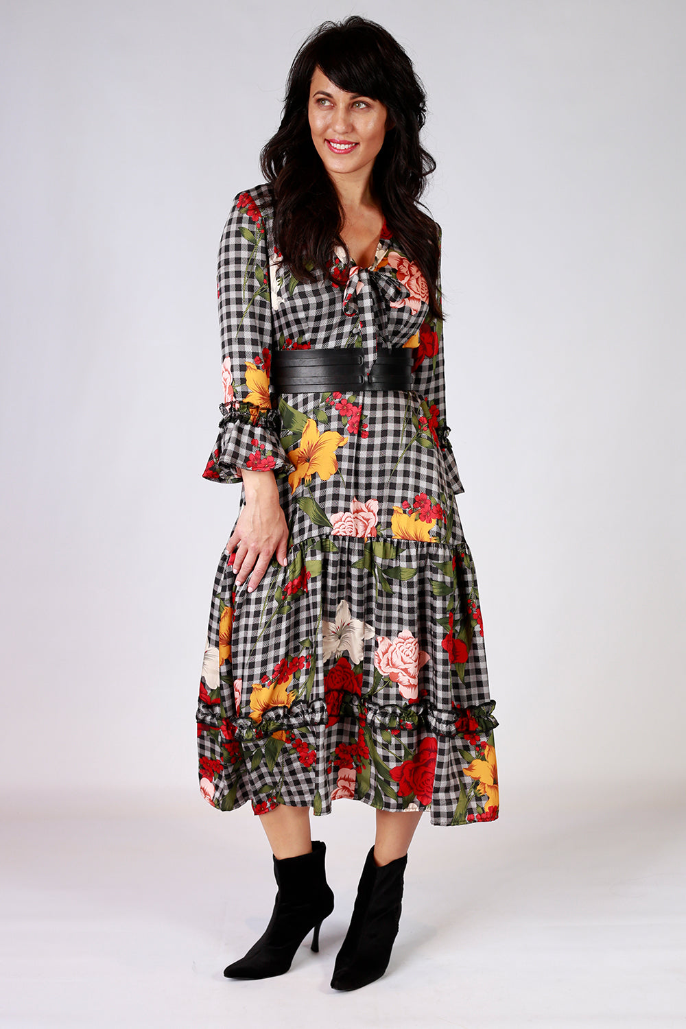 Maggie Magnolia Dress | Gypsy Fare AW20 | Annah Stretton | Gingham Dress | Annah Stretton Fashion | Designer Fashion | Floral Dress | Polka Dots | Designer Dress | Boho Dress | Annah Stretton NZ | Designer Fashion NZ