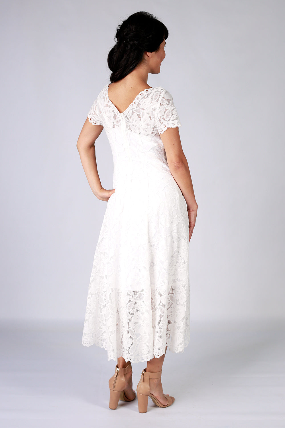 Moon Flower Dress | Lace Dress | New Zealand Fashion Designer | Annah Stretton | Wedding Dress | Wedding Dress NZ | Affordable Designer Dresses | Modern Wedding Dress | Tea Length Dress
