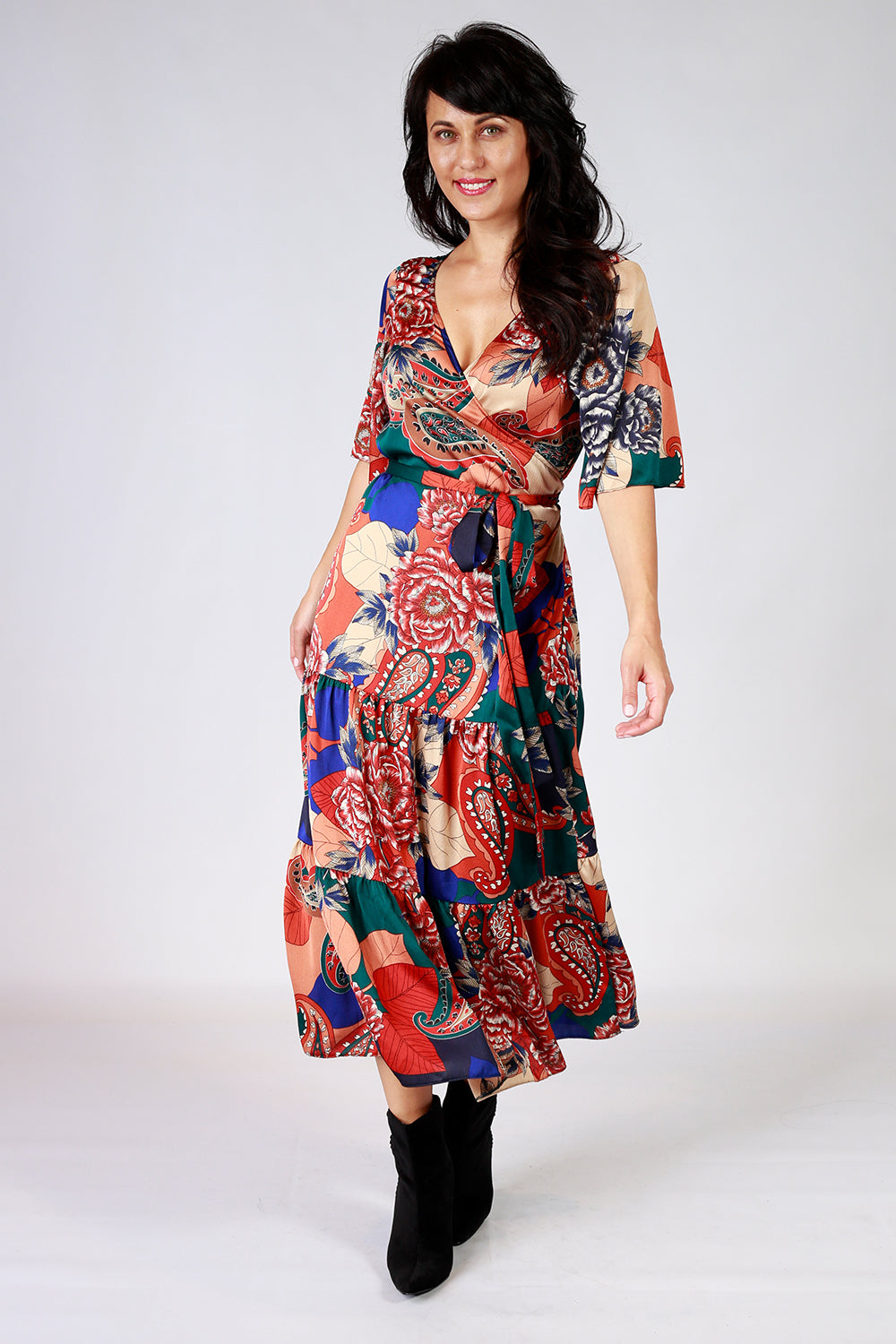 Maddly Mertle Dress | Gypsy Fare AW20 | Annah Stretton | Wrap Dress | Annah Stretton Fashion | Designer Fashion | Floral Dress | Polka Dots | Designer Dress | Boho Dress NZ | Annah Stretton NZ | Designer Fashion NZ | Evening Dresses NZ | Wrap Dresses NZ