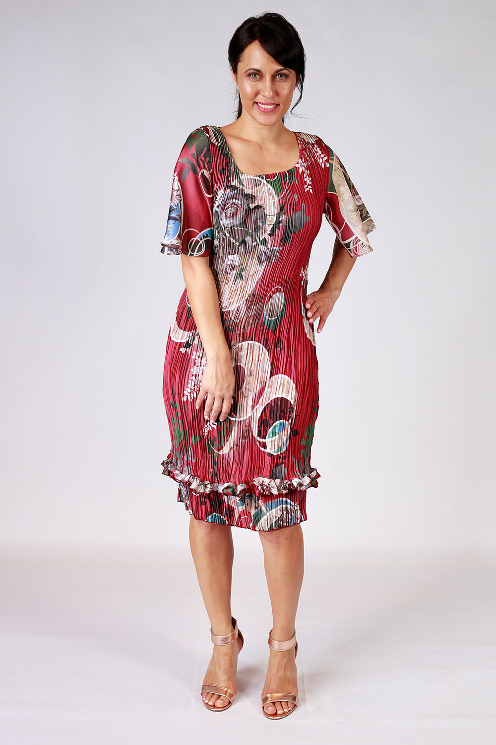 Betty Bell Flower Pleat Dress
