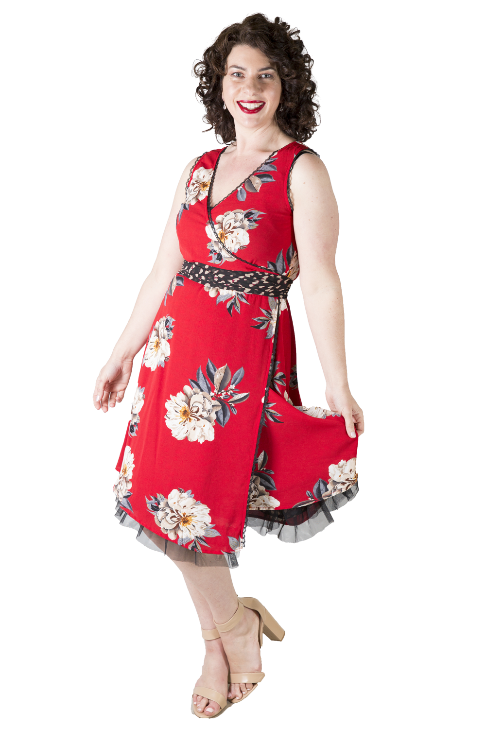 Elga Flipit Wrap Dress | Red Floral Occasion Dresses | New Zealand Fashion | New Zealand Designer | Annah Stretton