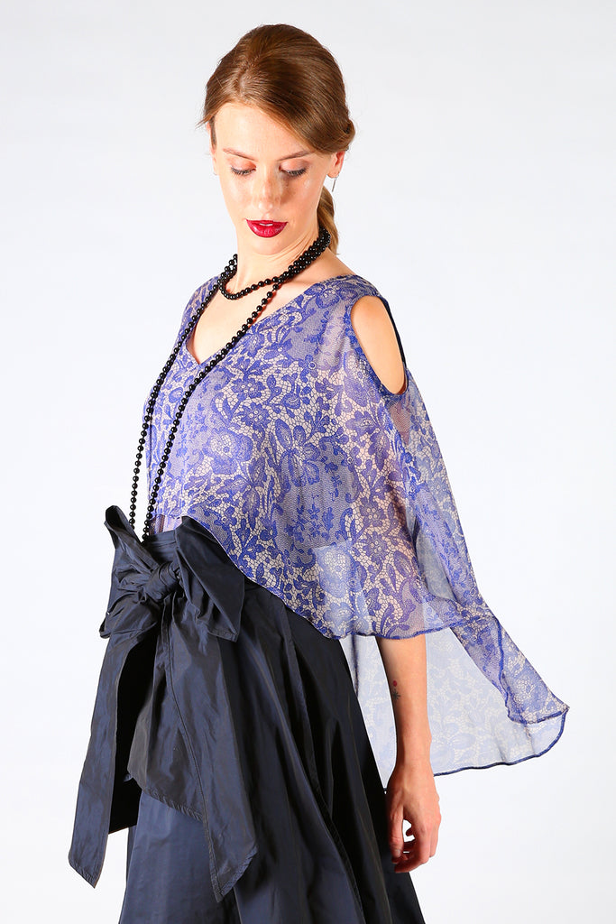 Fawn Cold Shoulder Top, Annah Stretton AW19, Blue Pink Floral Cold Shoulder Top, Shot on Model, NZ Made