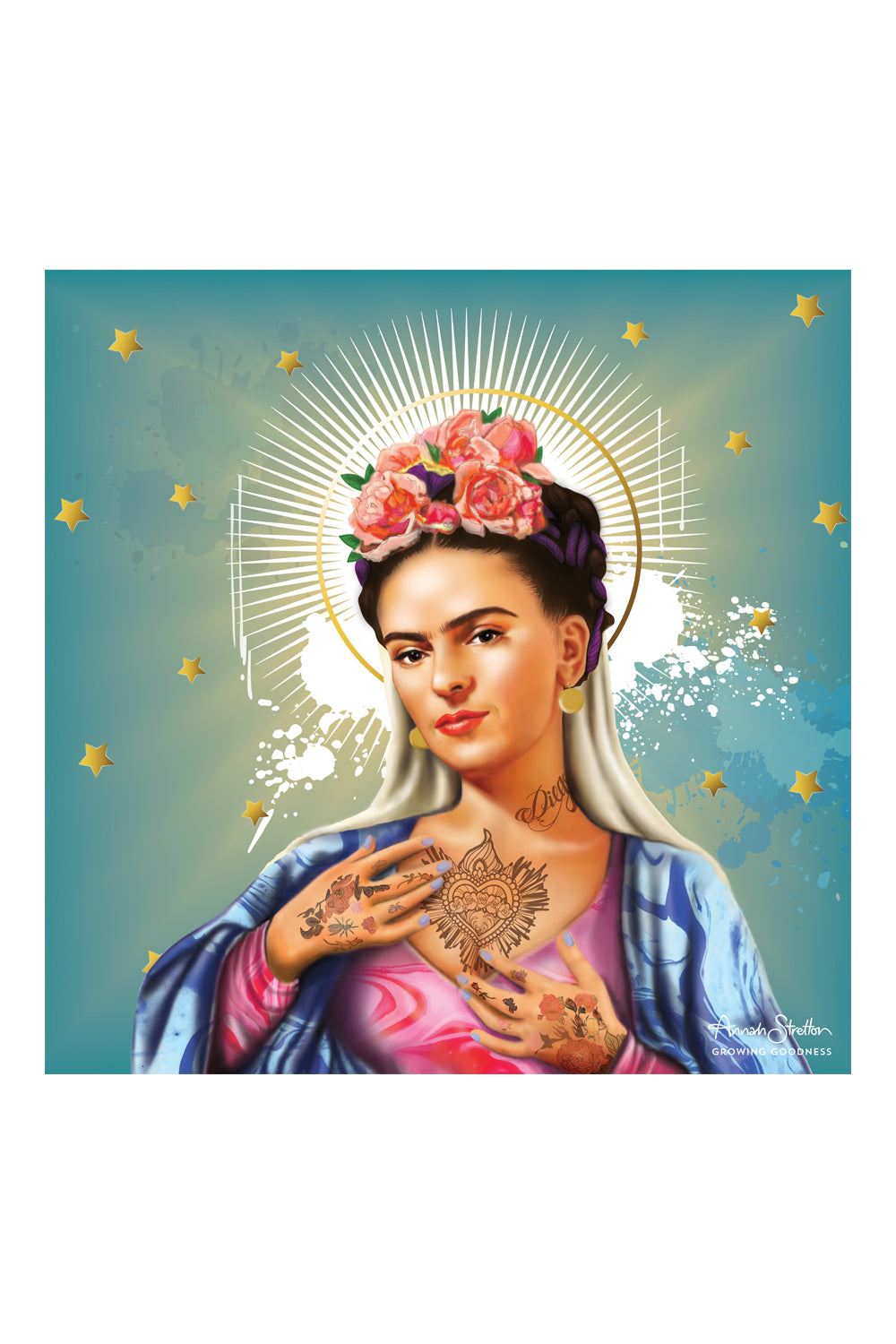 Frida Canvas Print, Blue,  Original Artwork, Annah Stretton Homewares