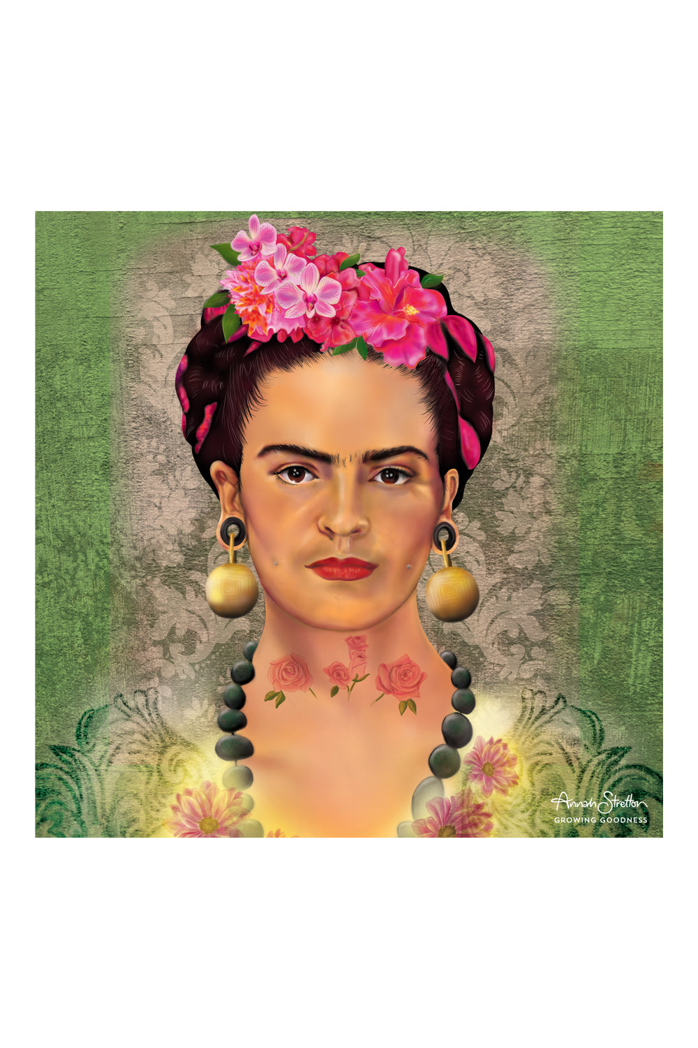 Frida Canvas Print, Green, Original Artwork, Annah Stretton Homewares