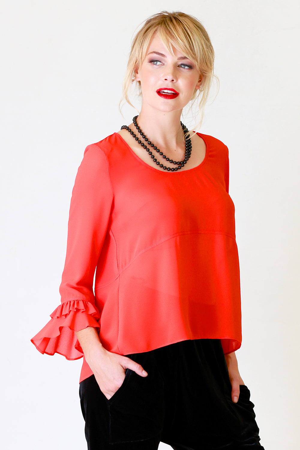 Glenys Top, Annah Stretton AW19, Ruffle Sleeve Red Top, Shot on Model