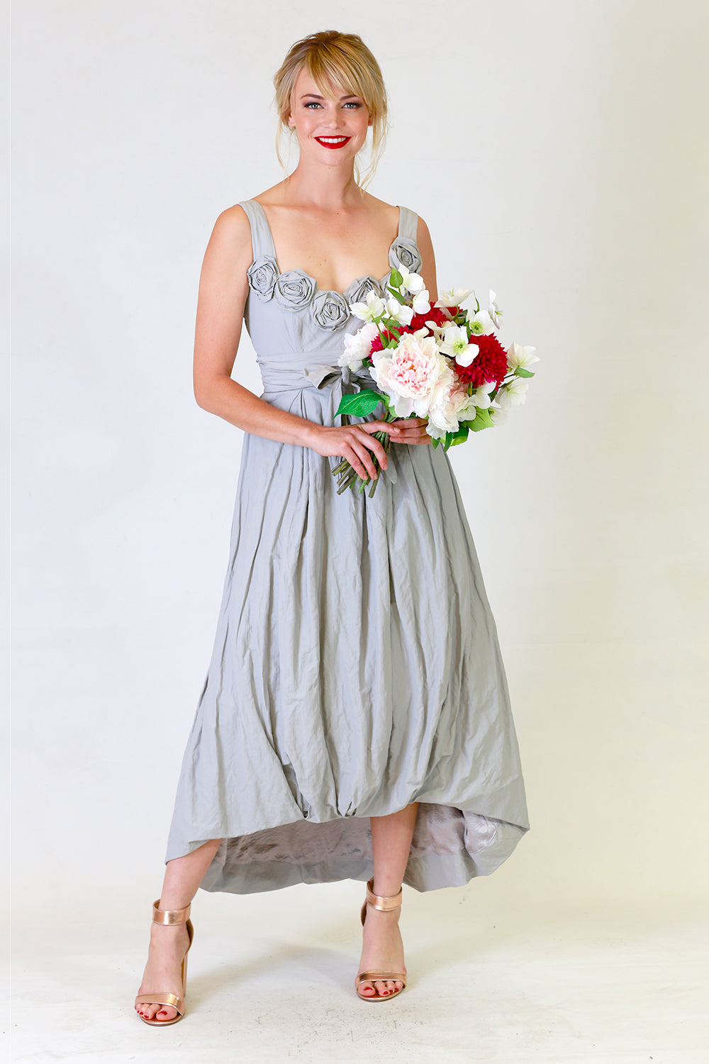 Stephana Tin Rose Dress, Annah Stretton Bridal, Grey Wedding Dress, Shot on Model / Bridesmaid NZ / Bridal Party NZ /