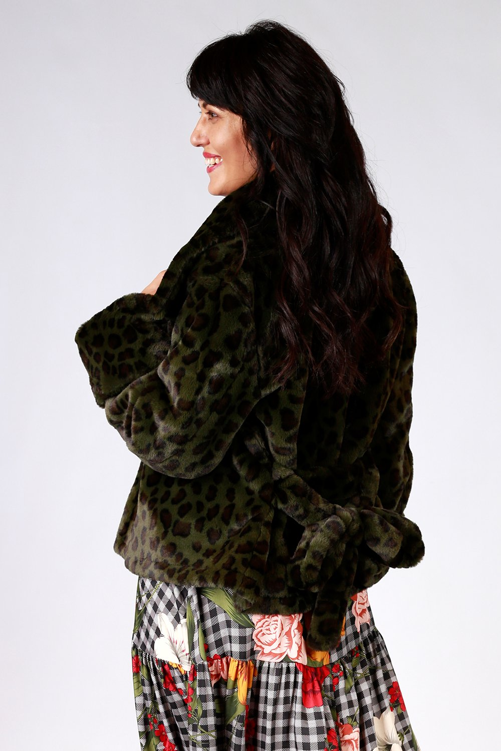 Not Too Furry Jacket | Gypsy Fare AW20 | Annah Stretton | Annah Stretton Fashion | Designer Fashion | Leopard Fur Coat | Faux Fur Coat | Winter Coat | Leopard Winter Coat | Green Winter Coat | Designer Fur Coat | Annah Stretton NZ | Designer Fashion NZ