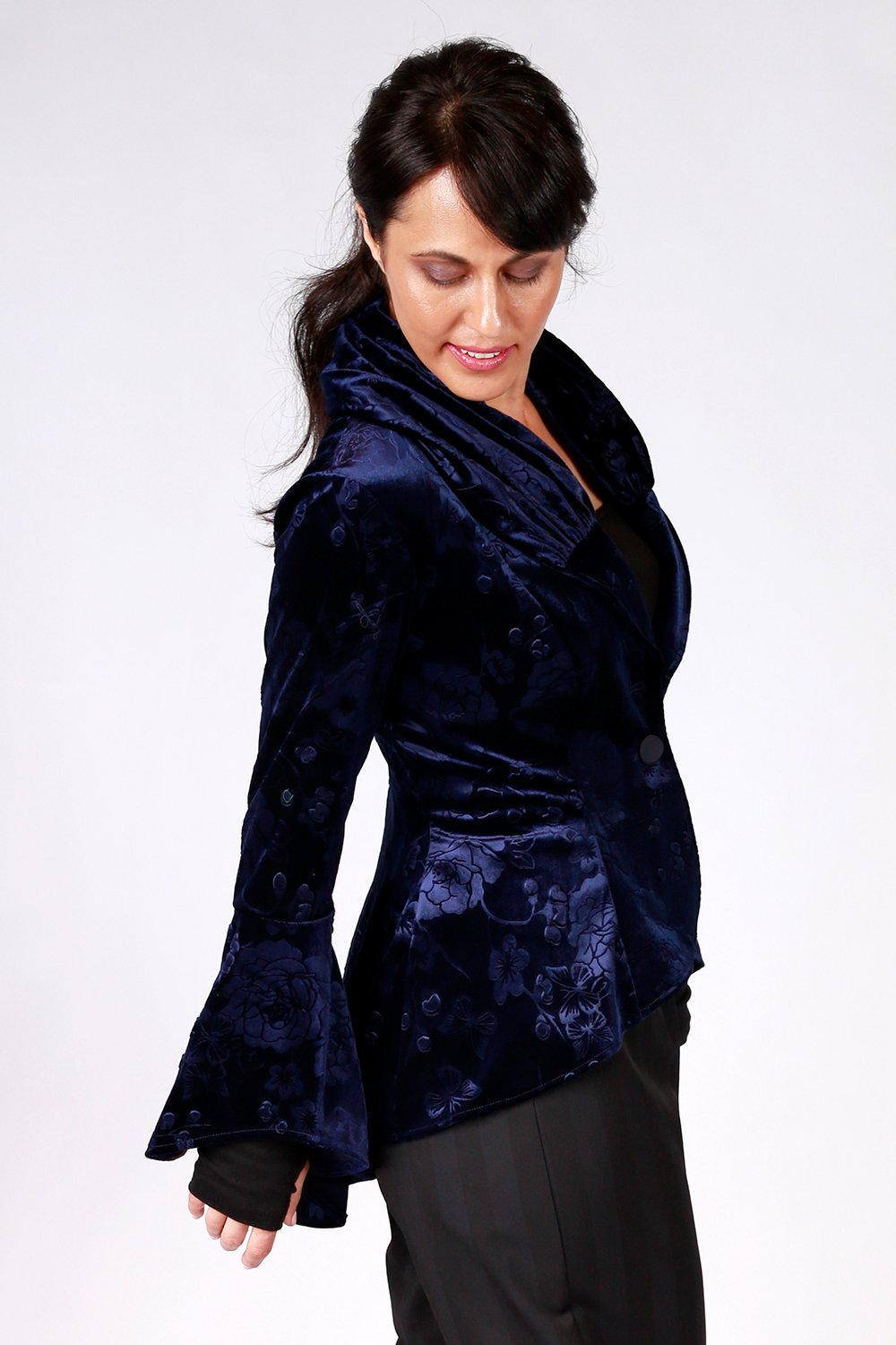 Ady Jacket | Annah Stretton AW20 | Gypsy Fare Collection | Velvet Jacket Coat | Shot on Model | Navy Jacket