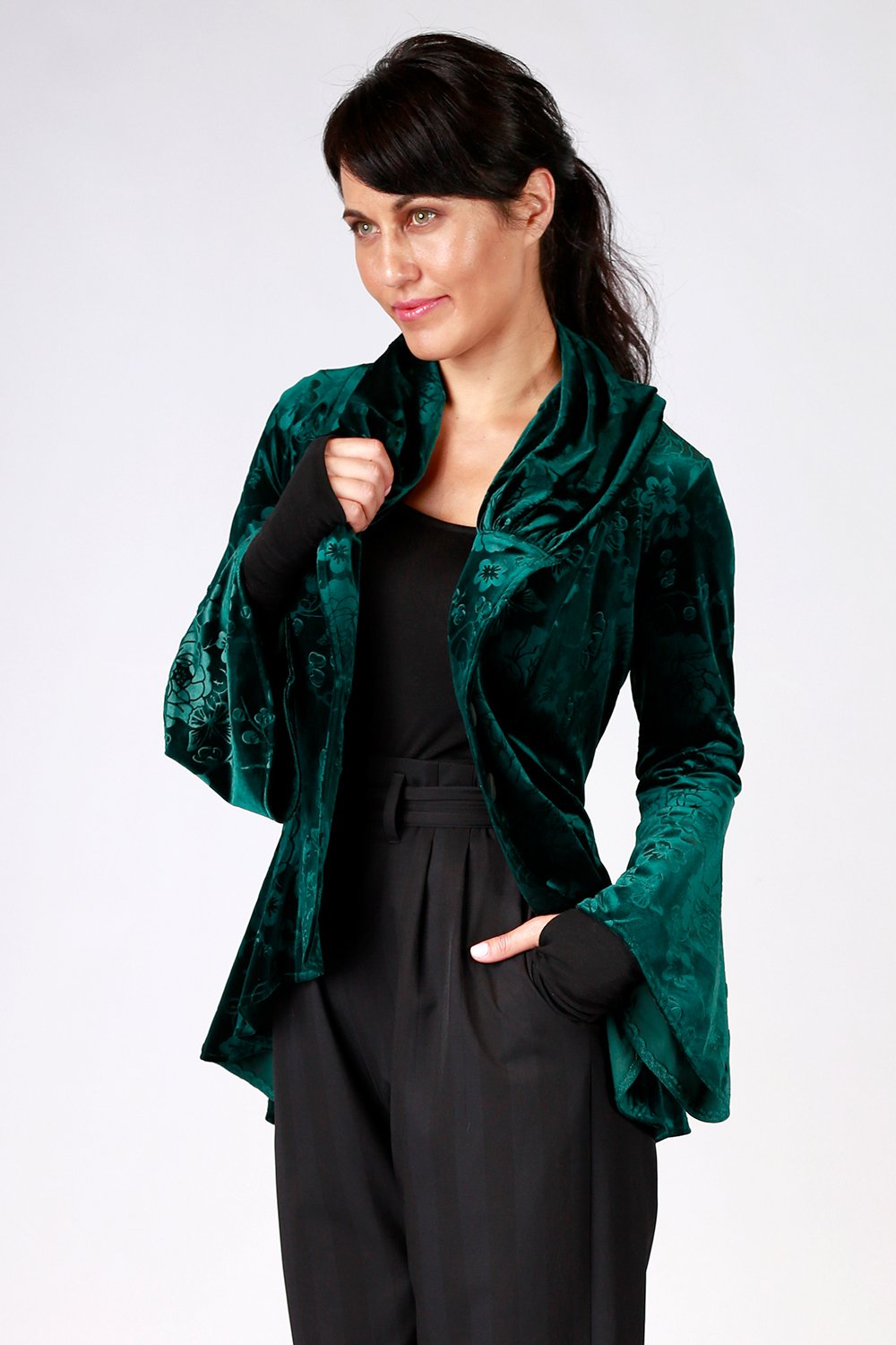 Ady Jacket | Annah Stretton AW20 | Gypsy Fare Collection | Velvet Jacket Coat | Shot on Model | Green Jacket