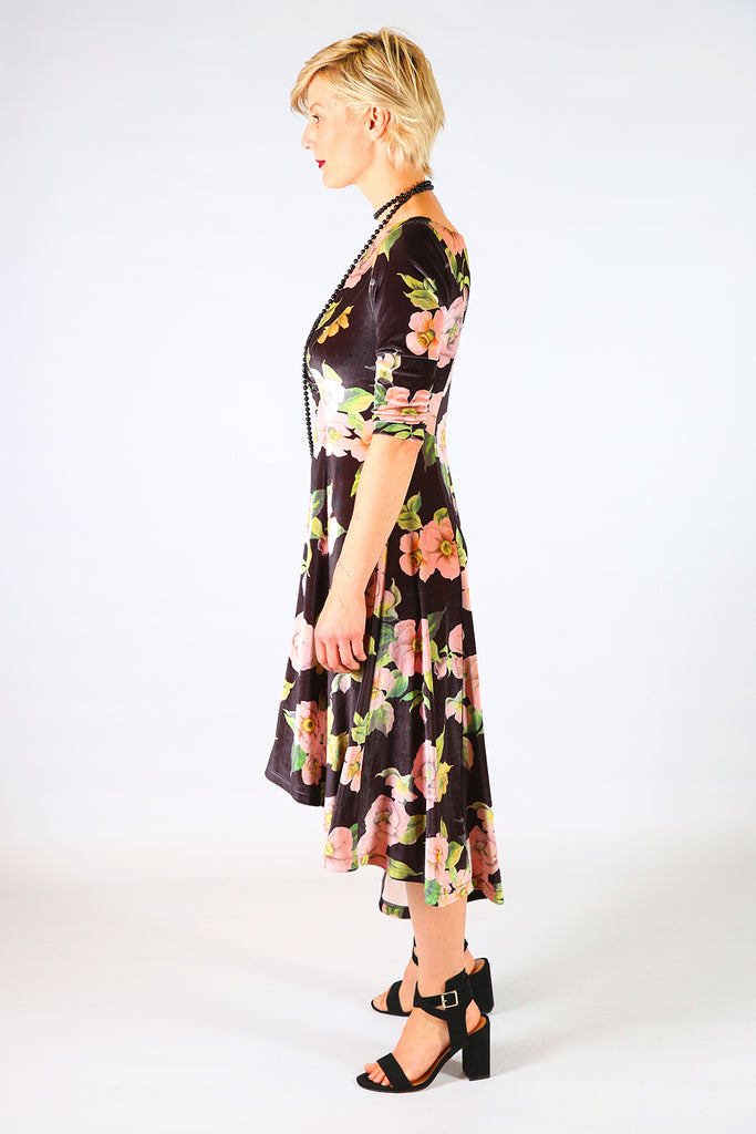 Jude Velvet Dress, Annah Stretton AW19, Black Floral Mid Length Velvet Dress, Shot on Model