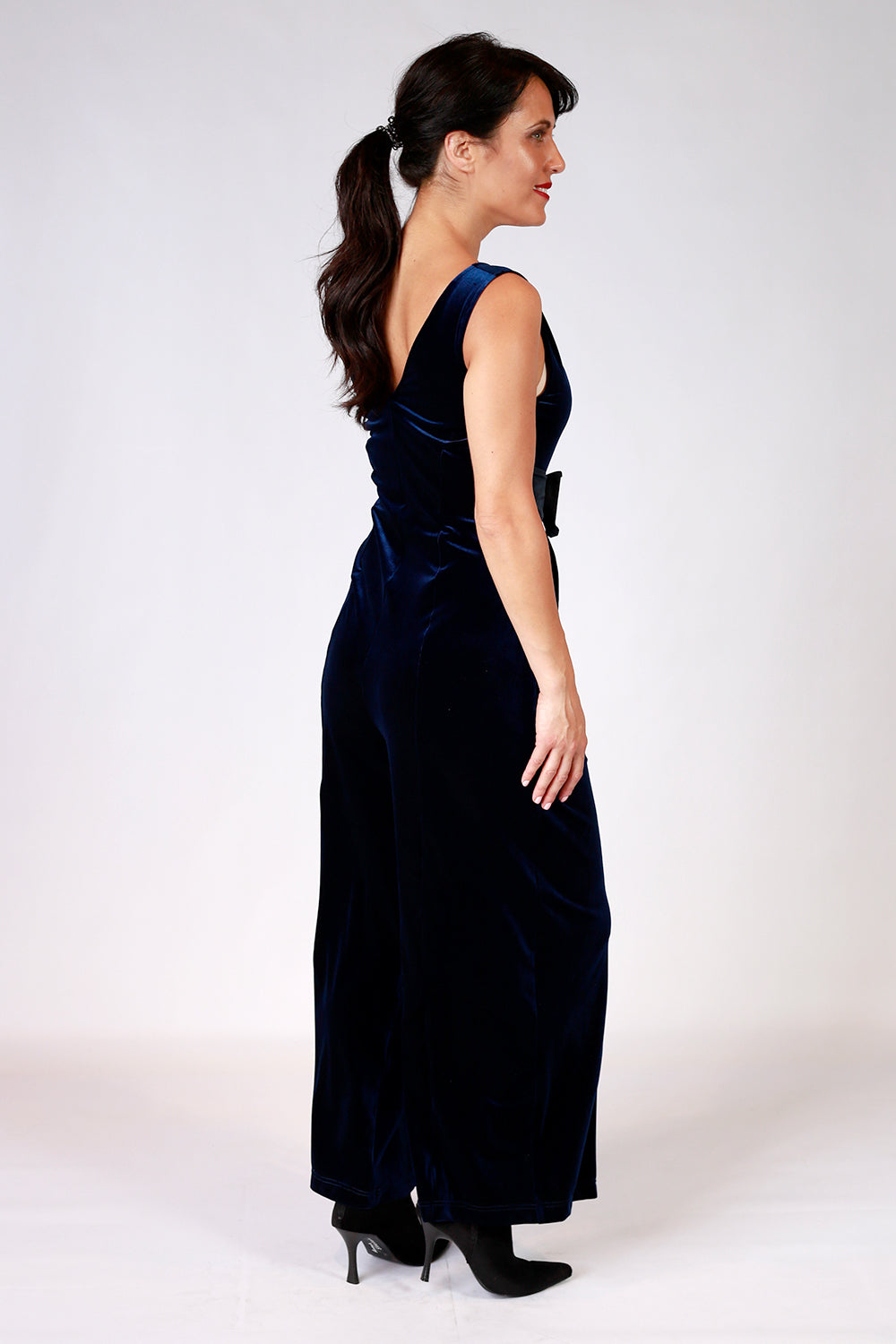 Andie's Encore Velvet Jumpsuit | Annah Stretton AW20 | Gypsy Fare Collection | Navy velvet jumpsuit | Shot on Model | Annah Stretton Designer | Designer NZ | Annah Stretton