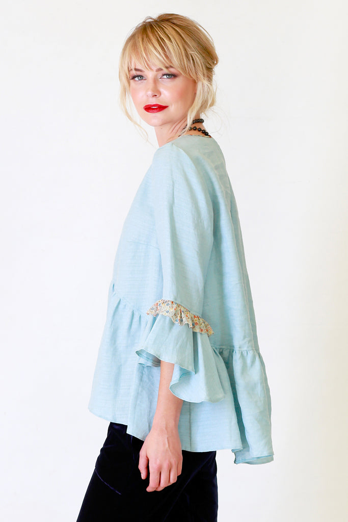 Justine Jill Top  | Blue Linen Top | Autumn Winter 19 Annah Stretton Fashion NZ