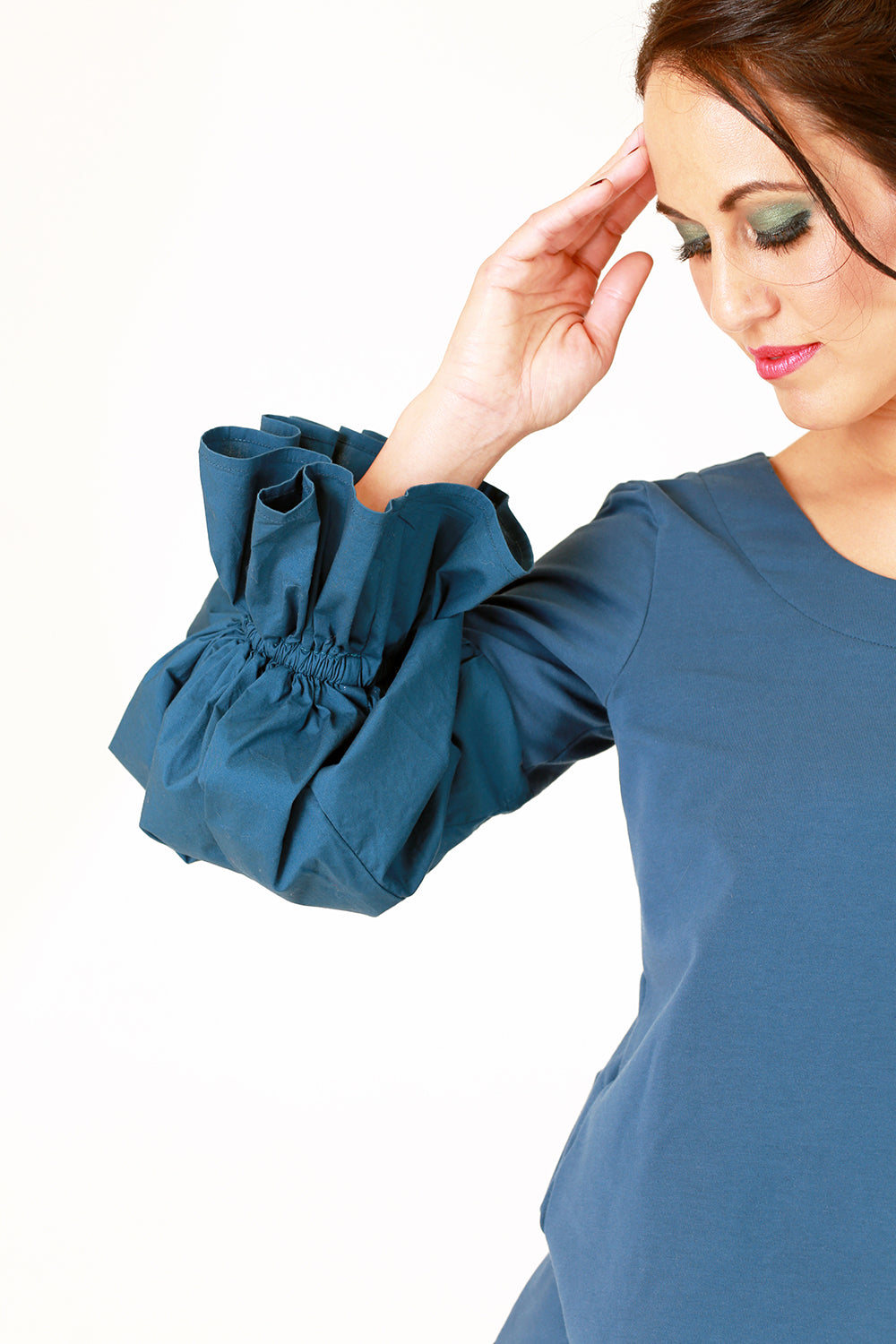 lalita top in teal with puff sleeve