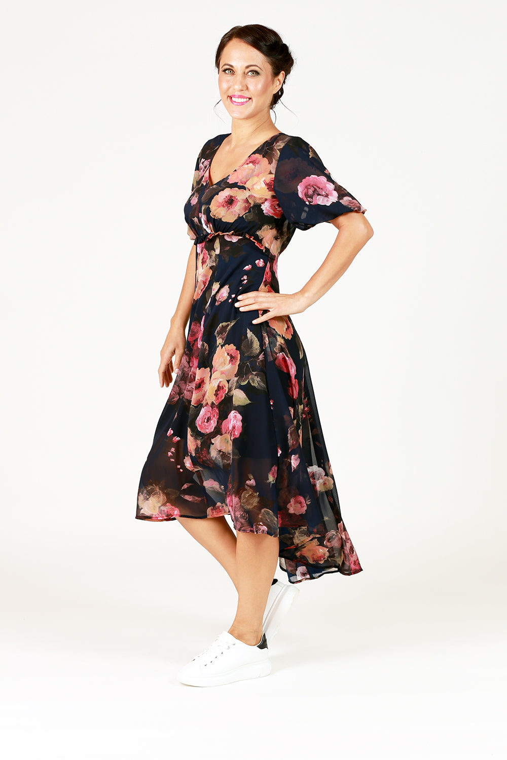 mady dress in navy with blush floral print puff sleeve