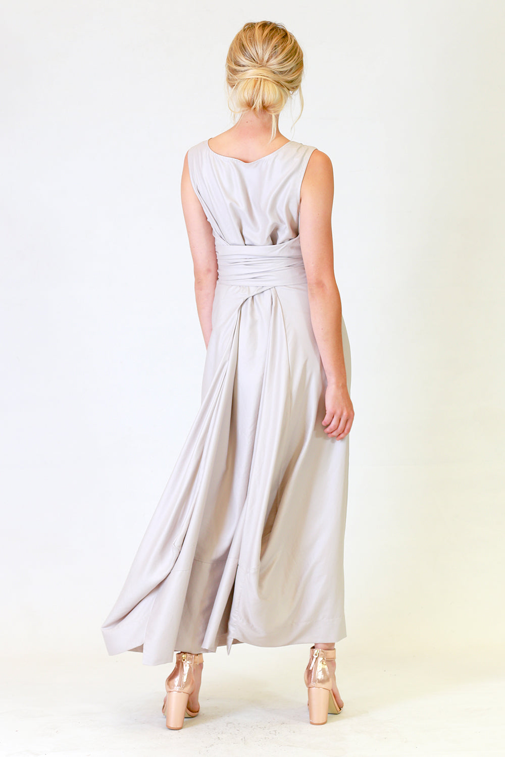 Myra Misty Dress | Green Cream Full Length Dress | Autumn Winter 19 Annah Stretton Fashion NZ
