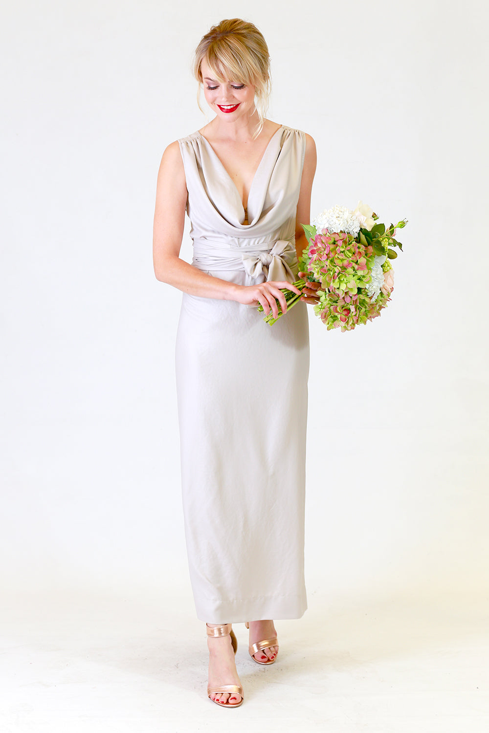 Myra Misty Dress | Green Cream Full Length Dress | Autumn Winter 19 Annah Stretton Fashion NZ / Bridesmaid dress NZ / Designer NZ / Wedding NZ / Bridal Party NZ