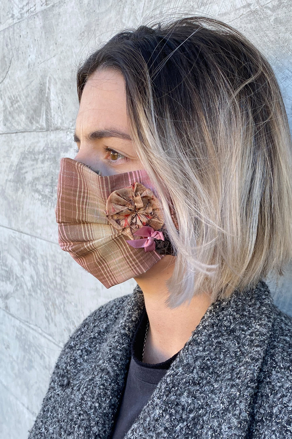 Women's Designer Cotton Face Mask - Brown/Pink