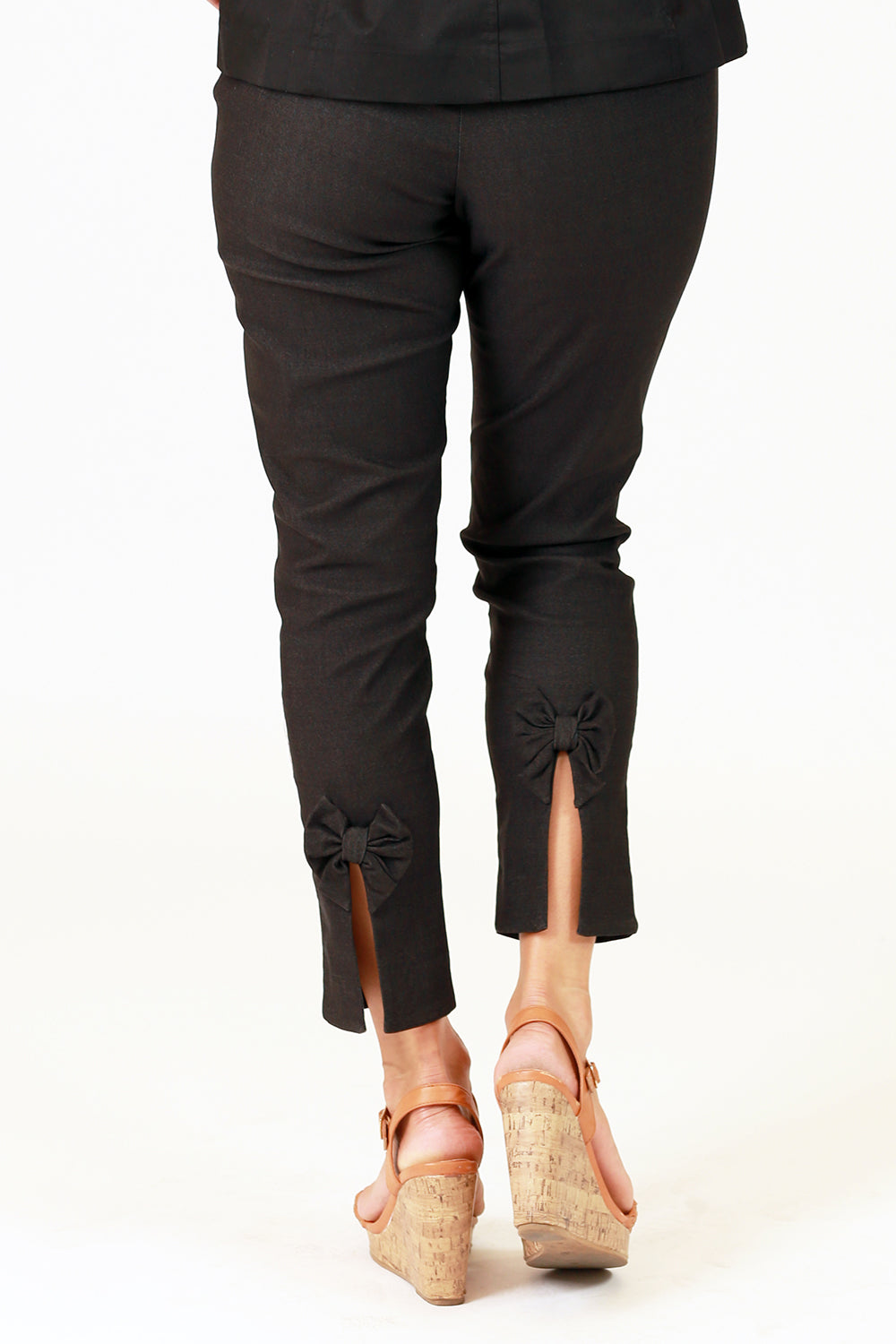 orbit alice grey stretch bow detail pants