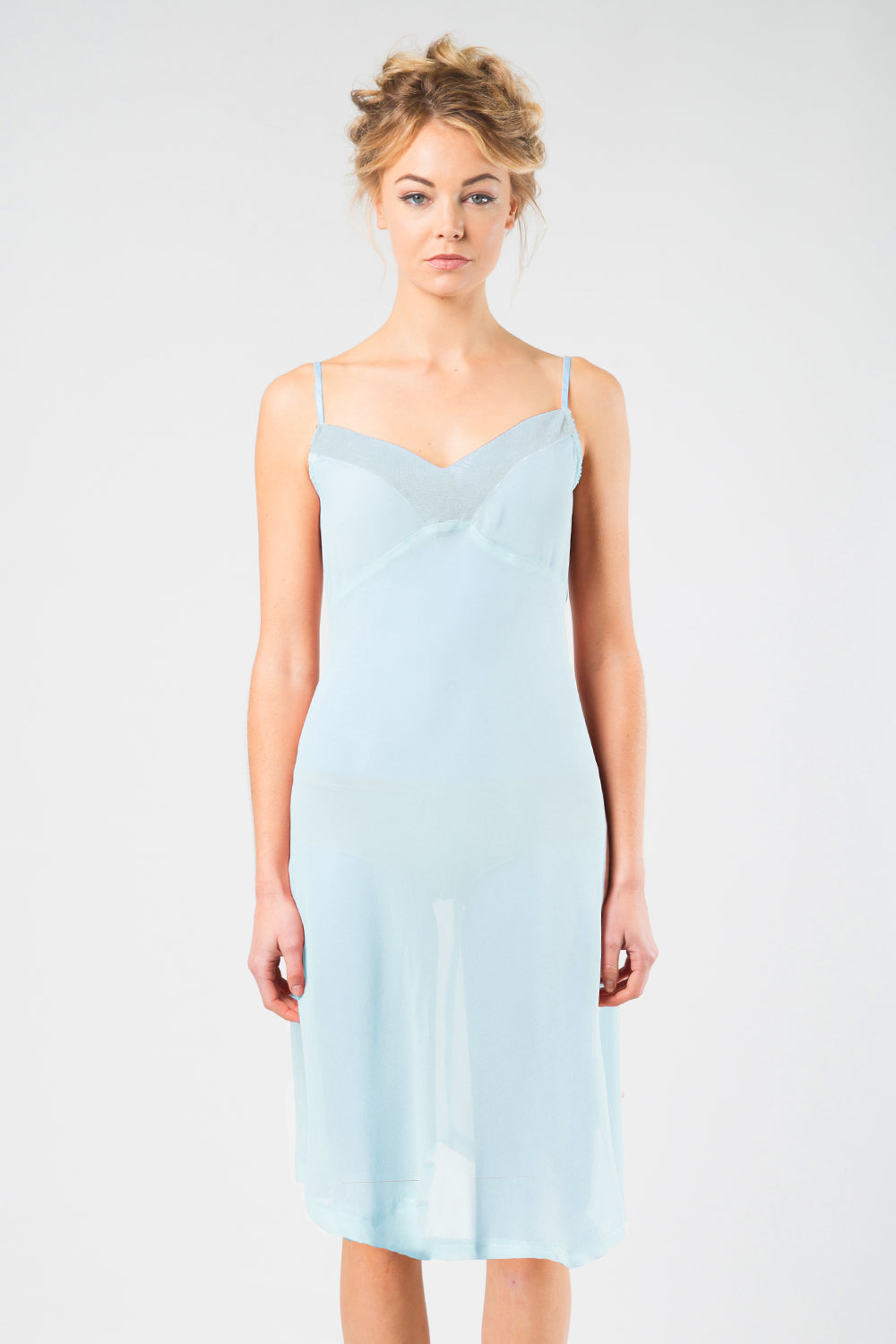 Pam Sheer Slip | Blue Slip | Sheer Slip | Undergarments | Essentials | Nightwear | Annah Stretton