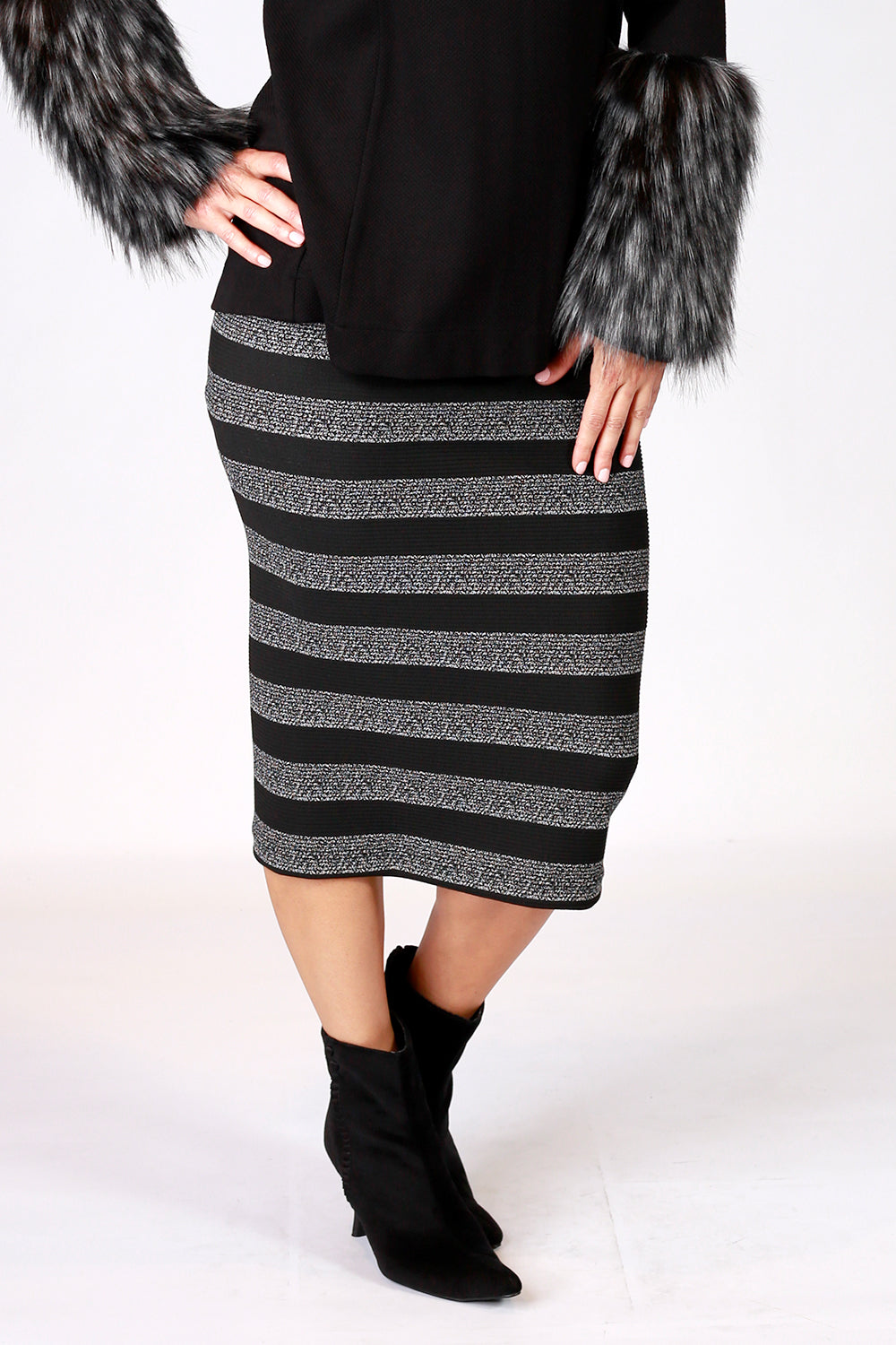 Ice Queen Skirt | Winter Wonderland AW20 | Annah Stretton | Annah Stretton Fashion | Designer Fashion | Bandage Skirt | Stripe Skirt | Fitted Skirt | Midi Skirt | Annah Stretton NZ | Designer Fashion NZ