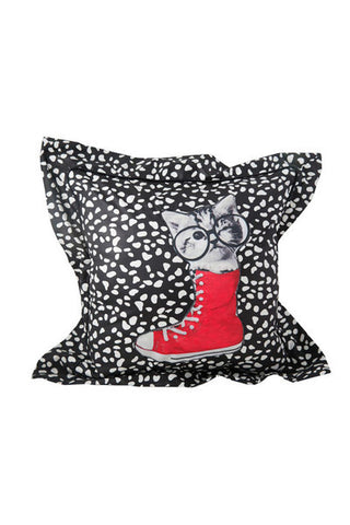 Polka dot vintage cushions with cat print