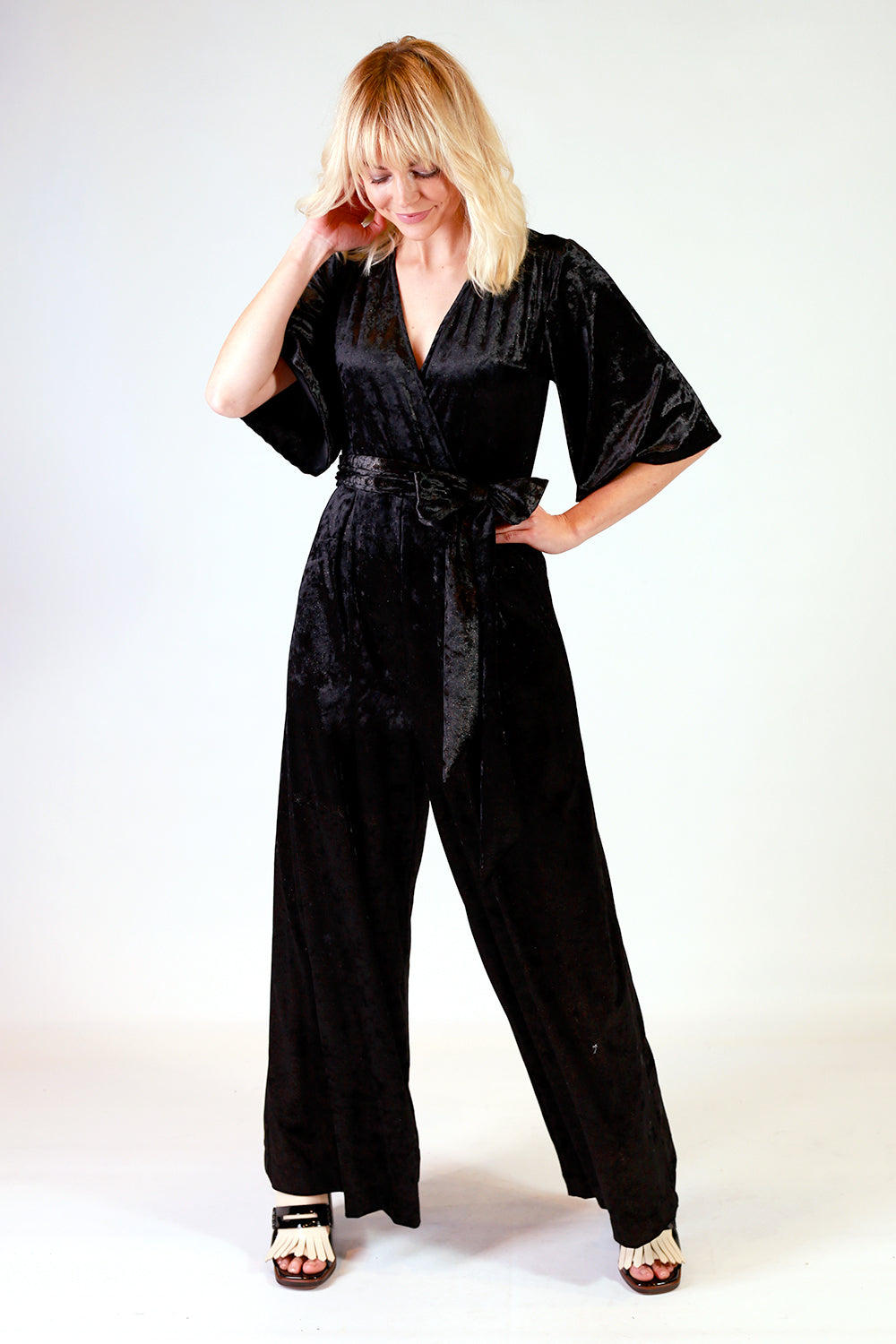Riley Velvet Jumpsuit Young And Resolute Y R Velvet Jumpsuit Gold Black Jumpsuit Annah Stretton