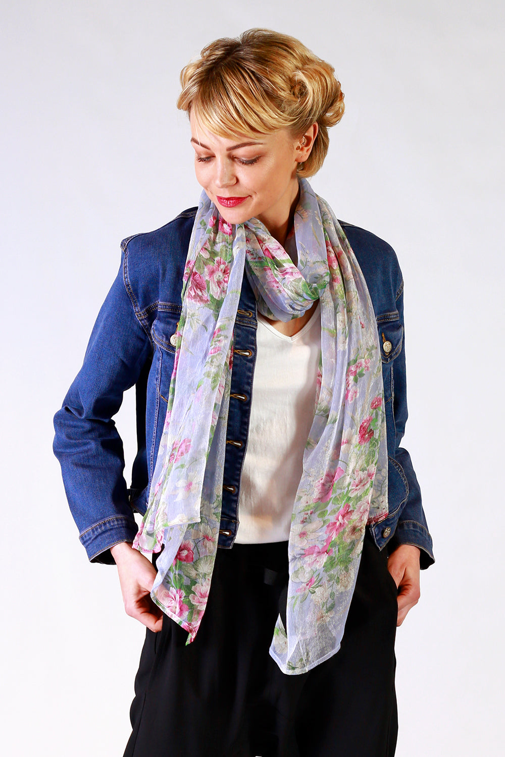 Lana Louise Scarf | Blue Floral Scarf | Designer Fashion Accessories | Scarves | Annah Stretton