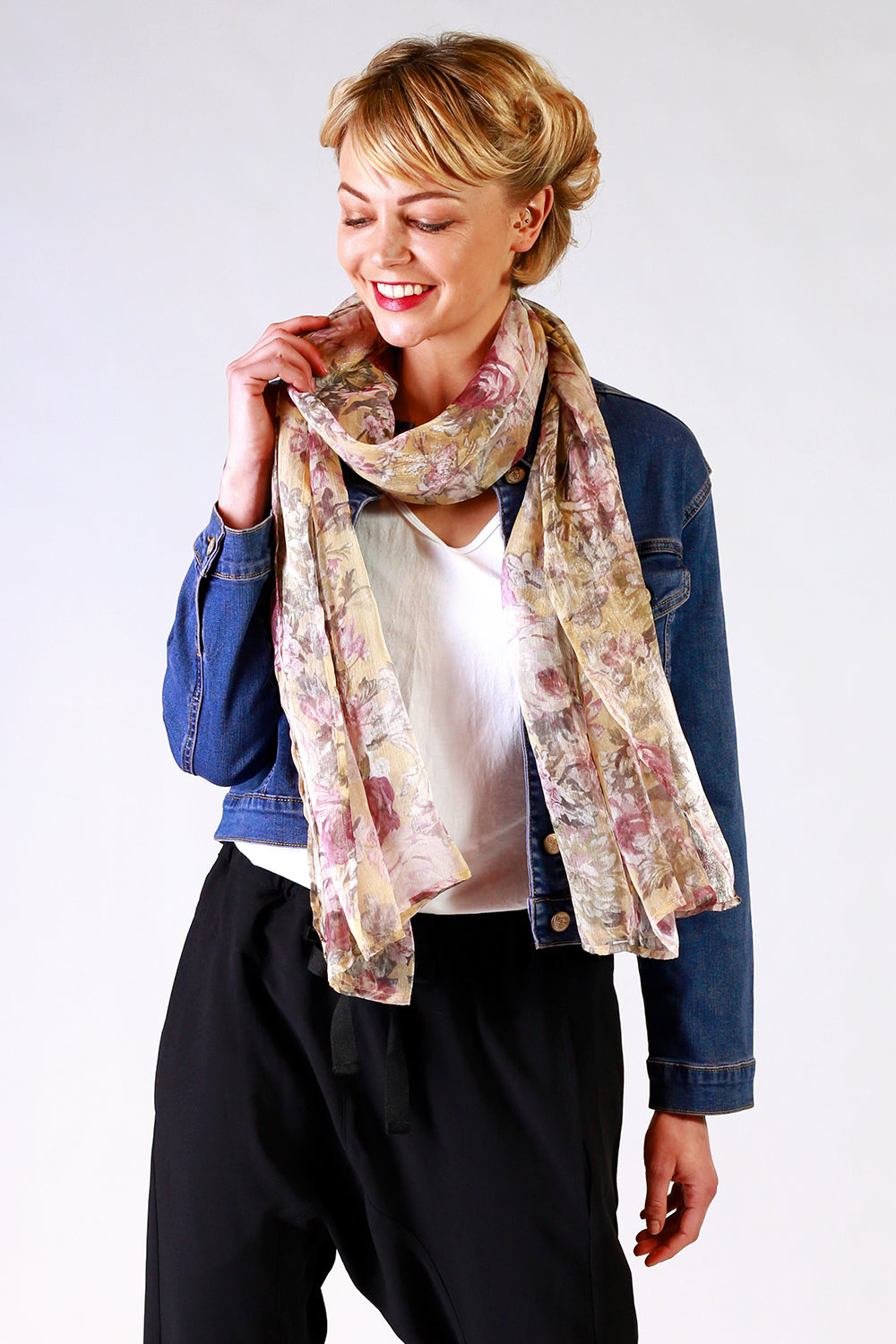 Lana Louise Scarf | Yellow Floral Scarf | Designer Fashion Accessories | Scarves | Annah Stretton