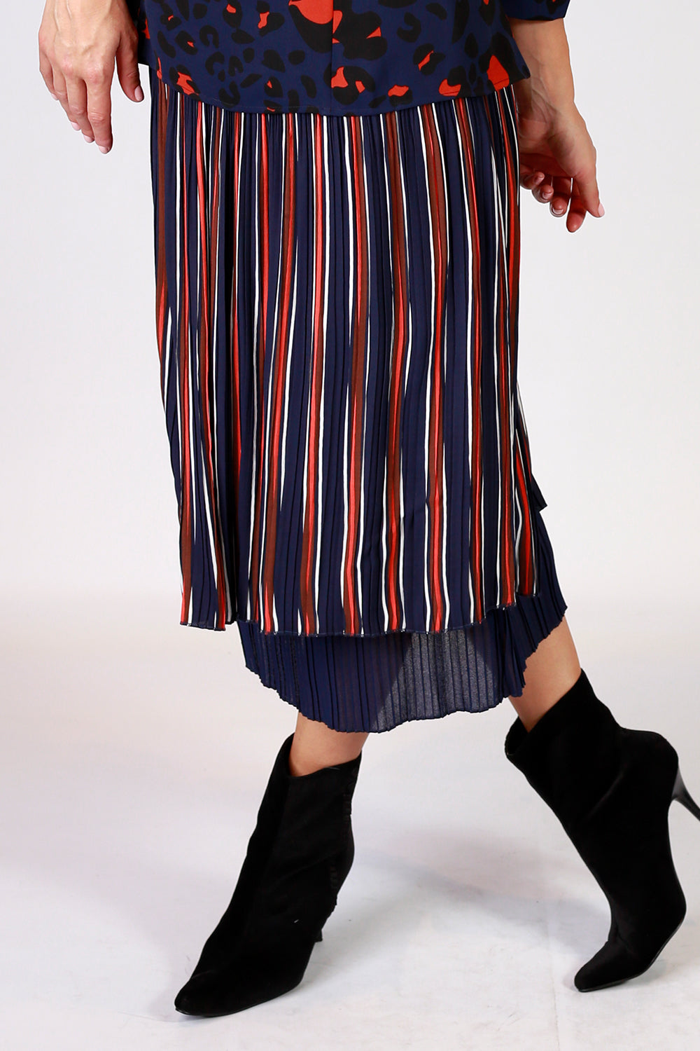 Viva Violet Skirt | Gypsy Fare AW20 | Annah Stretton | Annah Stretton Fashion | Designer Fashion | Navy Skirt | Stripe Skirt | Pleat Skirt | Midi Skirt | Annah Stretton NZ | Designer Fashion NZ