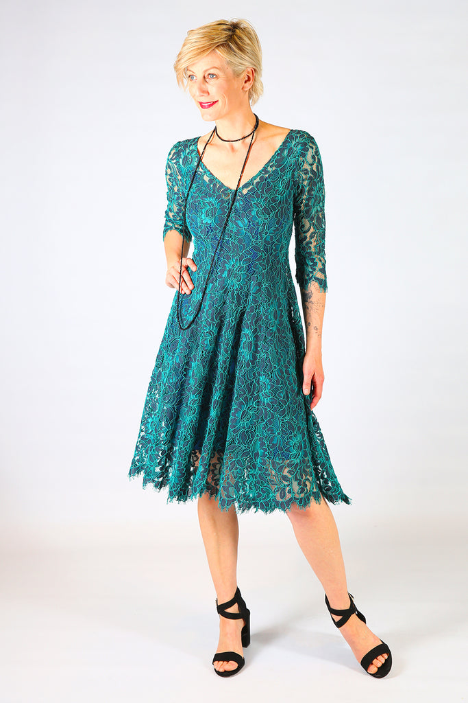 Summer Storm Lace Dress, Annah Stretton AW19, Teal Lace Mid Length Dress, Shot on Model