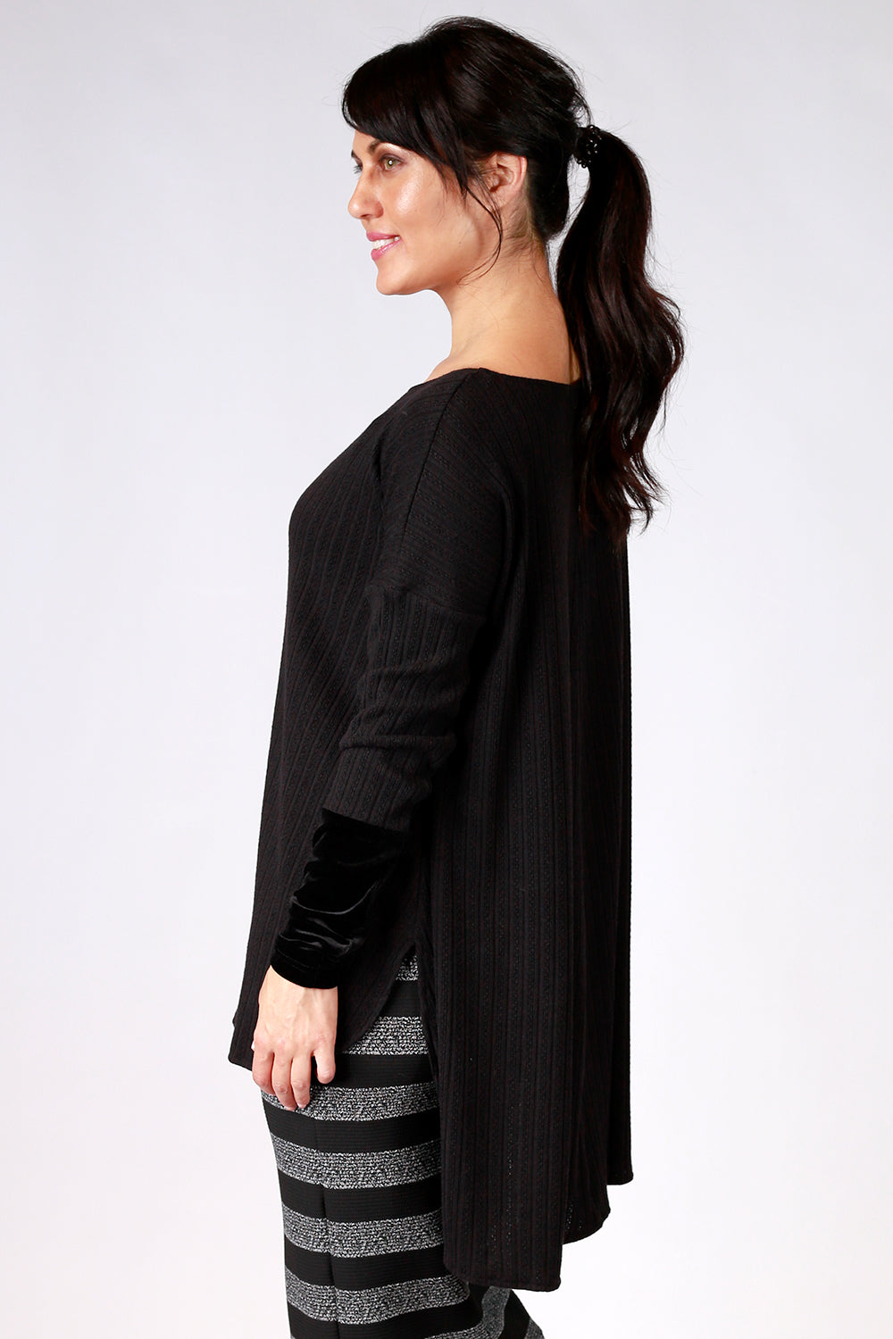 Naturally Nessie Top | Gypsy Fare AW20 | Annah Stretton | Annah Stretton Fashion | Designer Fashion | Knit Top | Black Top | Long sleeve Top | Velvet Top | Annah Stretton NZ | Designer Fashion NZ