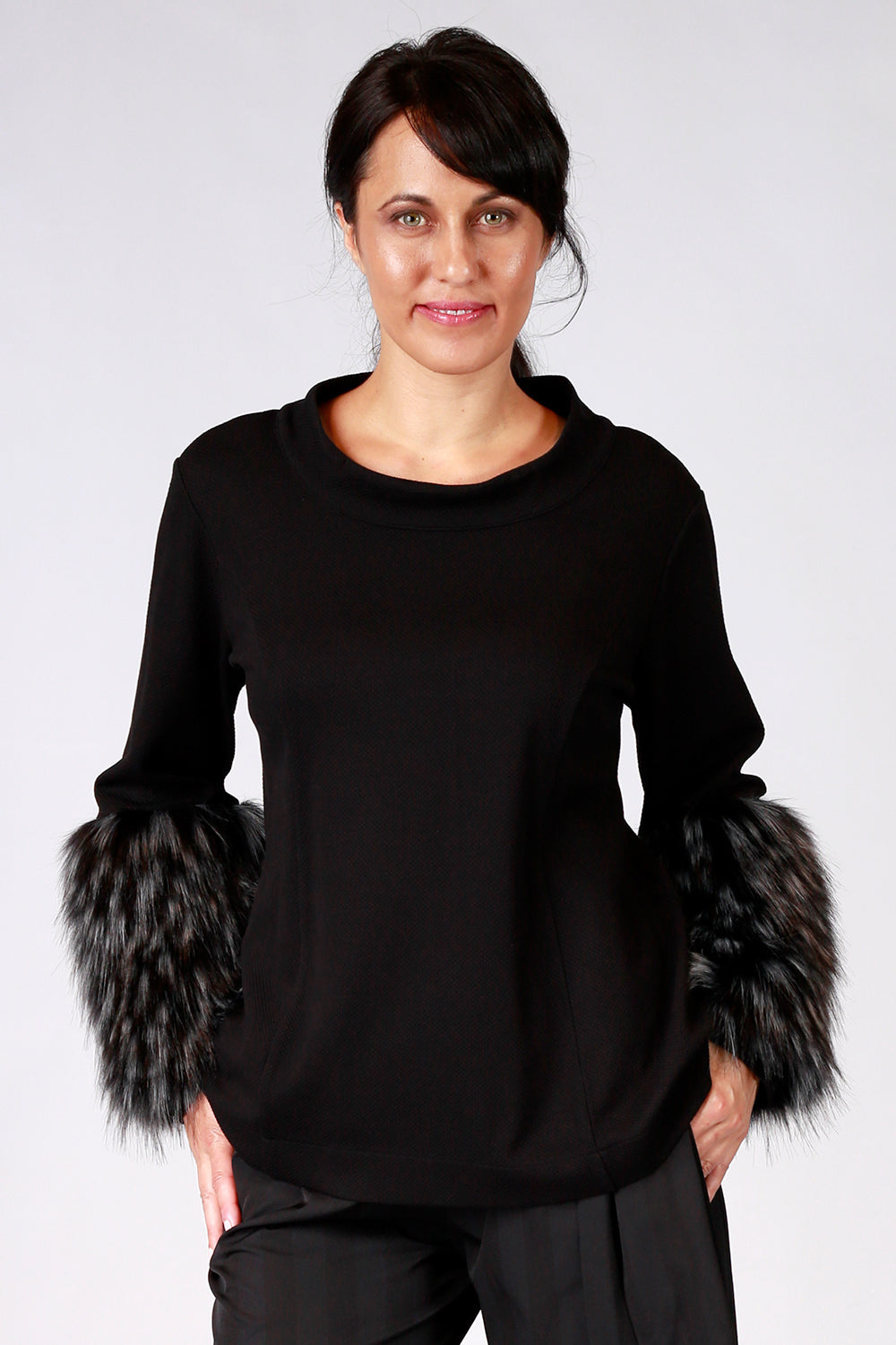 Baby It's Cold Top | Gypsy Fare AW20 | Annah Stretton | Annah Stretton Fashion | Designer Fashion | Black Top | Faux Fur Top | Winter Top | Faux Fur Cuffs | Annah Stretton NZ | Designer Fashion NZ