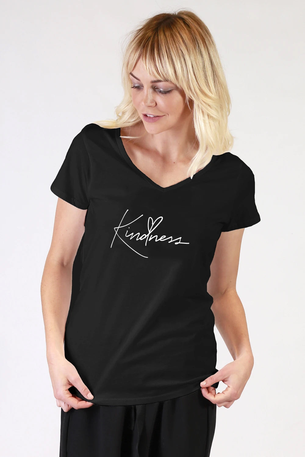 Kindness Black V Neck T Shirt