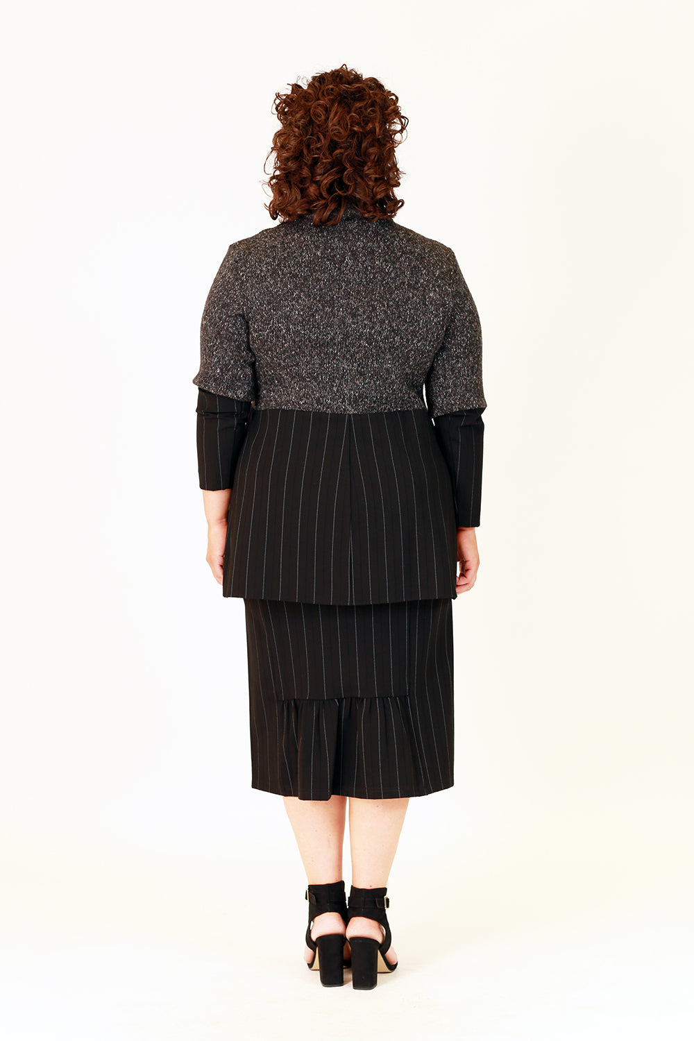 wren pinstripe midi skirt in black