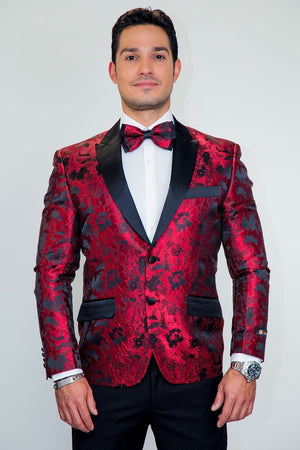 Amsterdam Tuxedo Jacket Peak - 2XL / Red - Venta Smoking