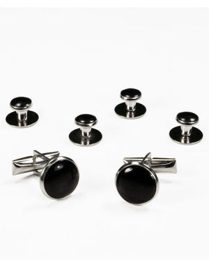 Basic Black with Silver Trim Studs and Cufflinks Set - Black