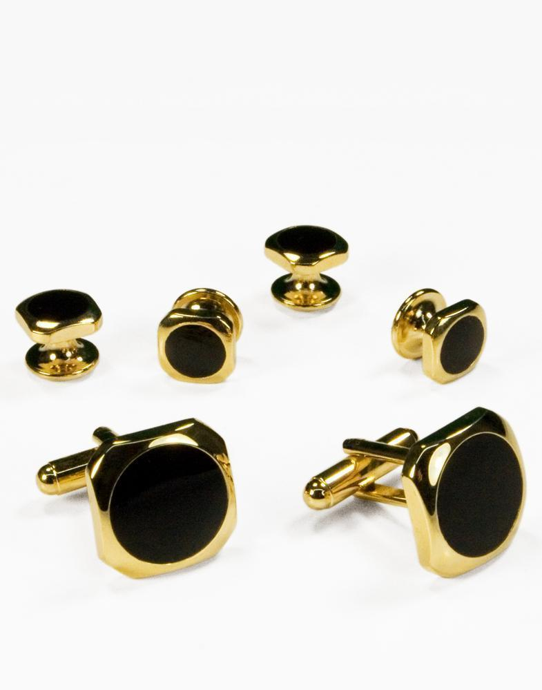 Black Circular Onyx with Gold Octagon Edge Studs and