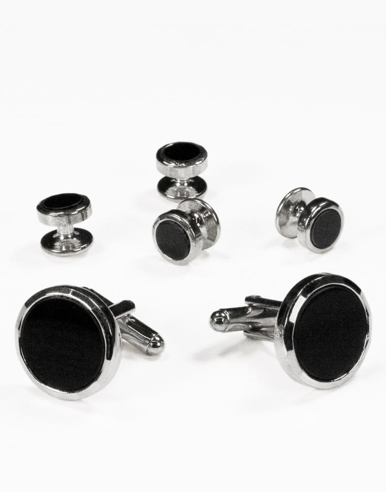 Black Circular Onyx with Silver Facet Cut Edge Studs and