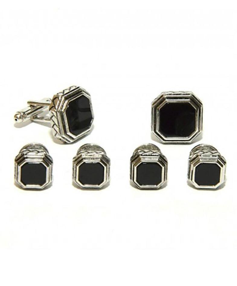 Black Octagon Onyx in Antique Silver Setting Studs &
