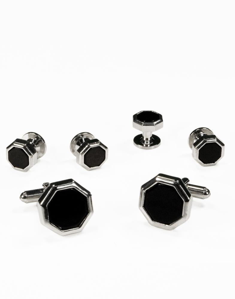 Black Octagon Onyx with Gold or Silver Edge Studs and