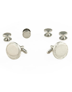 Engravable Studs and Cufflinks Set - Silver - Set Botones y