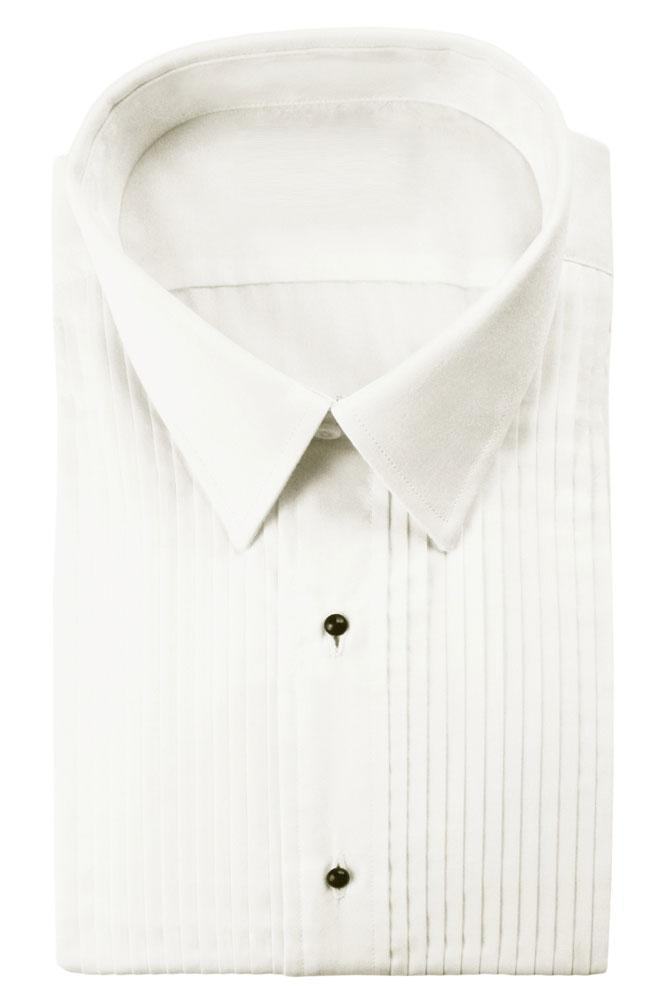 Enzo Ivory Pleated Laydown Tuxedo Classic Fit Shirt - XS /