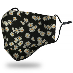 Face Mask Adult - Daisies Black - Face Mask
