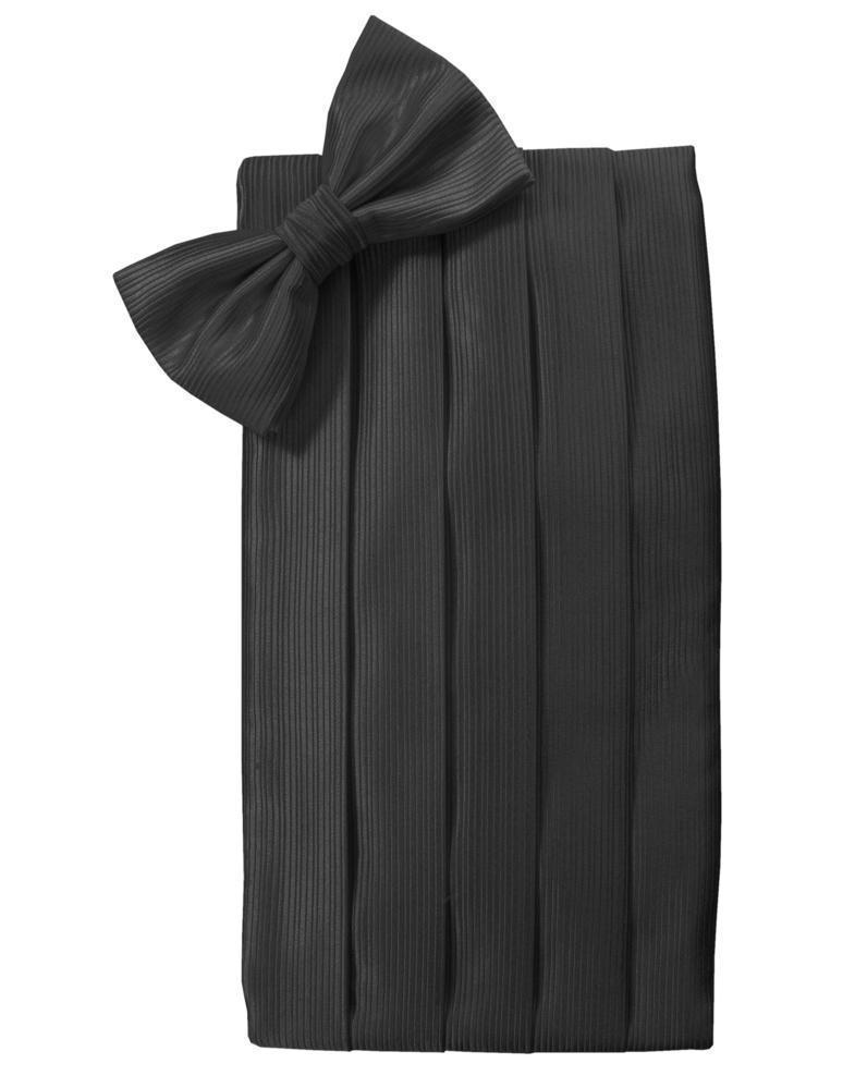 Faille Silk Cummerbund & Bow Tie Set - Black - Faja