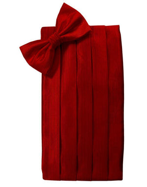 Faille Silk Cummerbund & Bow Tie Set - Red - Faja caballero