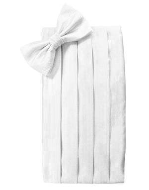 Faille Silk Cummerbund & Bow Tie Set - White - Faja